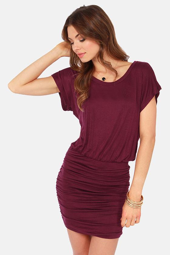 65dab89d6a9b Cute Burgundy Dress - Tee Dress - Short Sleeve Dress -  28.00