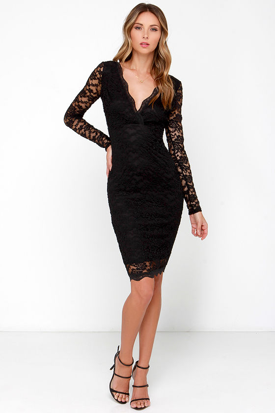 Sexy Black Dress Lace Dress Long Sleeve Dress Midi Dress 4900