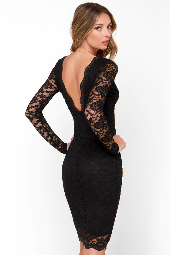 Sexy Black Dress - Lace Dress - Long Sleeve Dress - Midi Dress ...