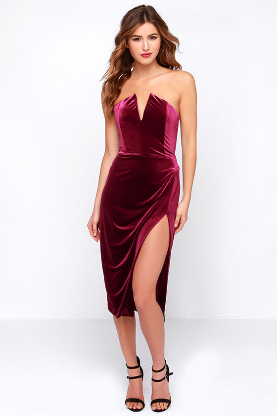 Sexy Burgundy Dress Velvet Dress Strapless Dress