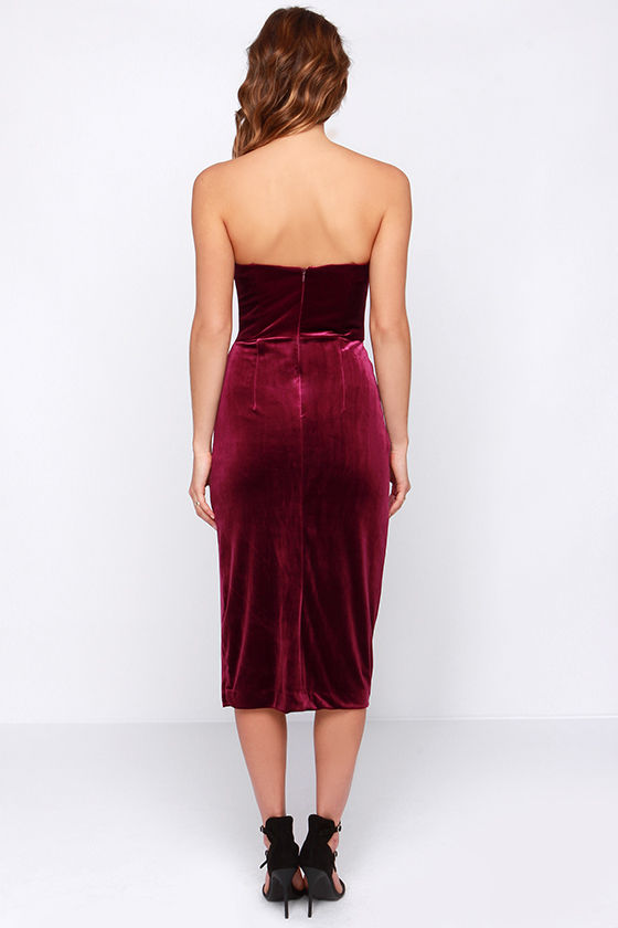 Sexy Burgundy Dress - Velvet Dress - Strapless Dress - Midi Dress ...