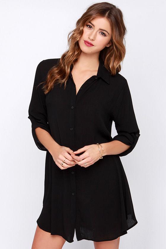 Cute Black Dress - Shirt Dress - Long Sleeve Dress - $38.00