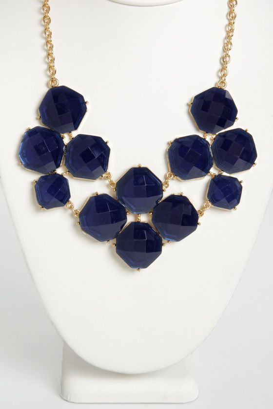 Jewel-cy Fruit Navy Blue Statement Necklace at Lulus.com!