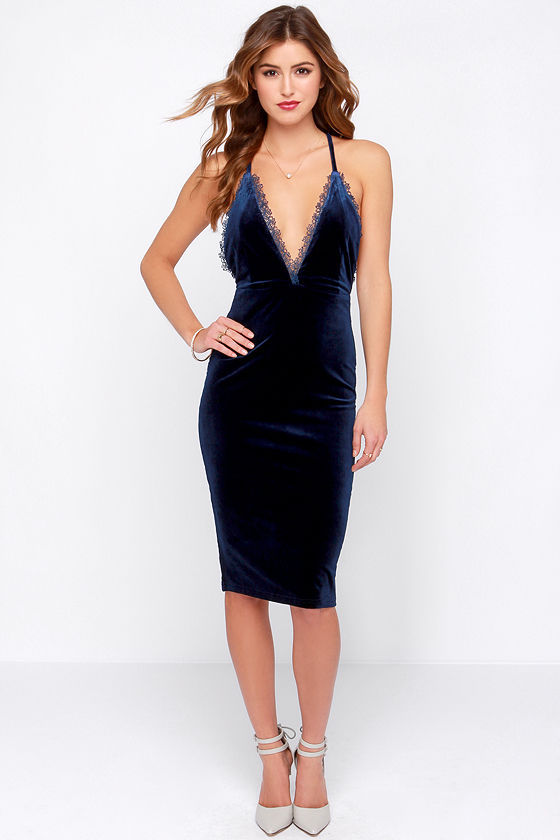 Sexy Blue Dress - Blue Velvet Dress - Slip Dress - $42.00