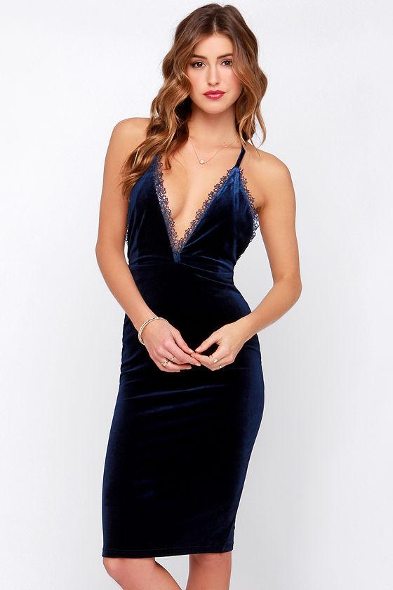 Sexy Blue Dress - Blue Velvet Dress - Slip Dress - $42.00