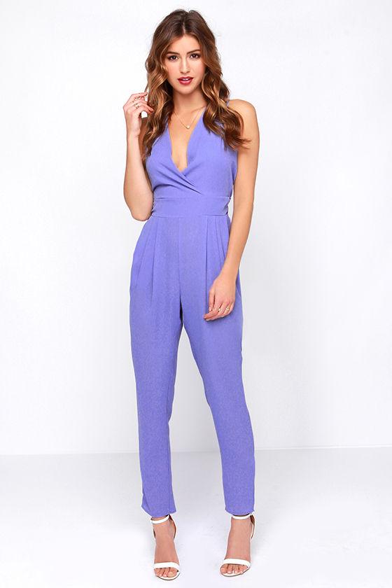 2df8e09f2677 Pretty Purple Jumpsuit - Periwinkle Jumpsuit - Sleeveless Jumpsuit -  53.00