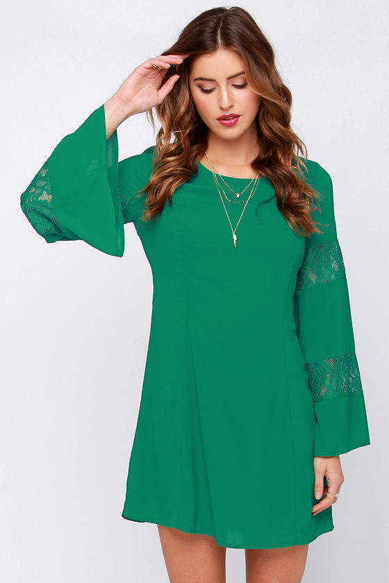 Cute Green Dress - Long Sleeve Dress - Lace Dress - $58.00