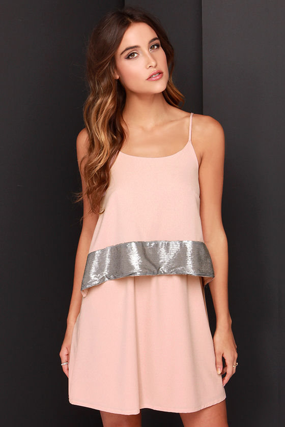 Lucky You Blush Sequin Dress
