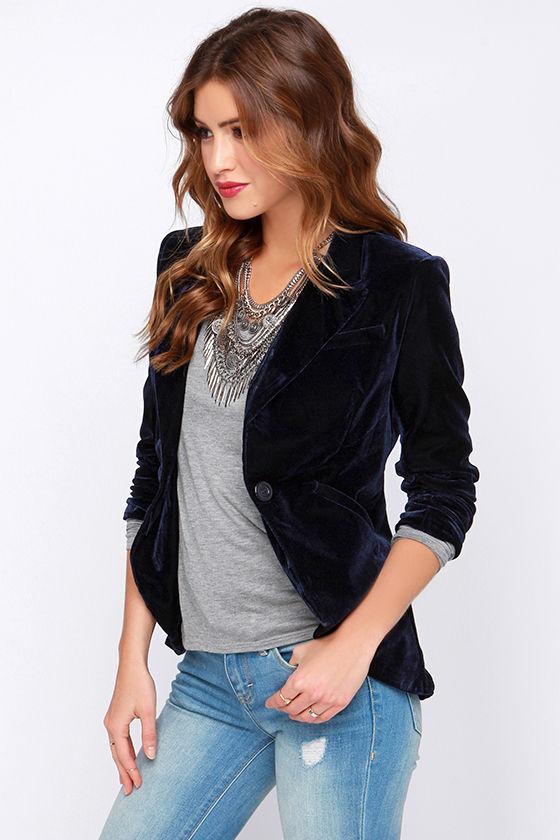 Chic Navy Blue Blazer Velvet Blazer Velvet Jacket 61 00
