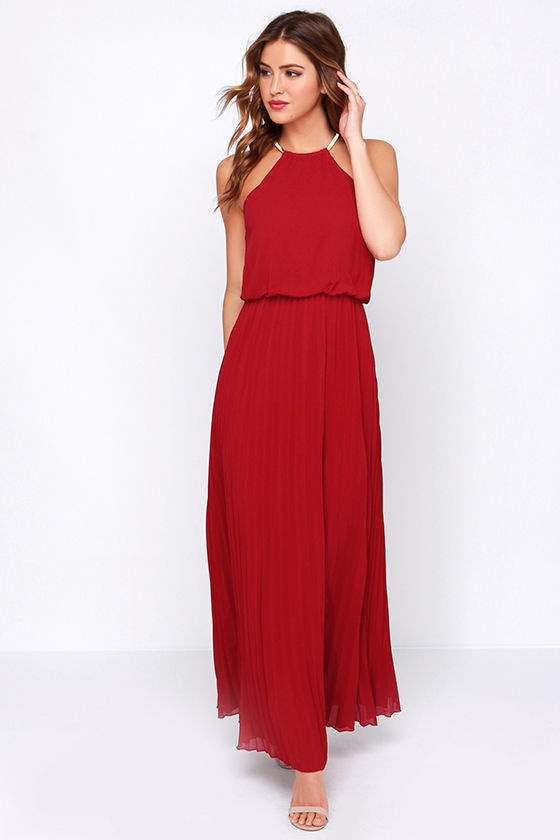 Pretty Wine Red Dress - Maxi Dress - Pleated Dress - $52.00
