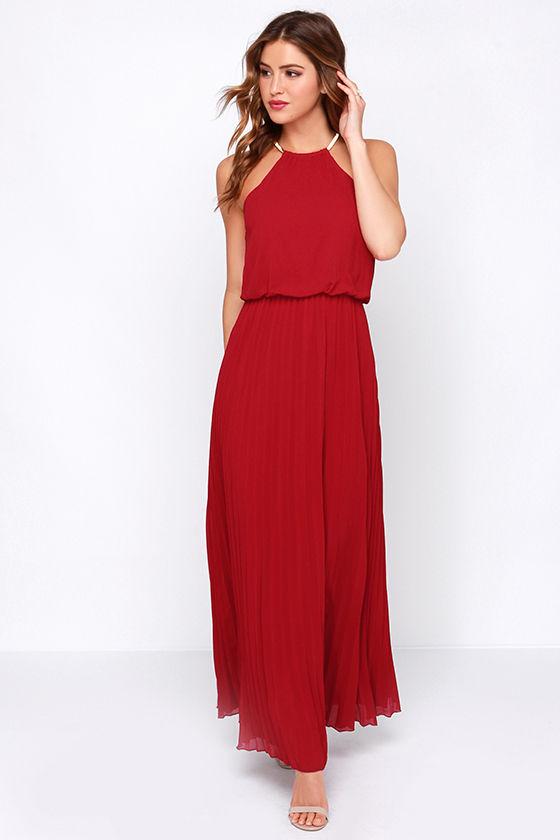 Pretty Wine Red Dress - Maxi Dress - Pleated Dress - $52.00