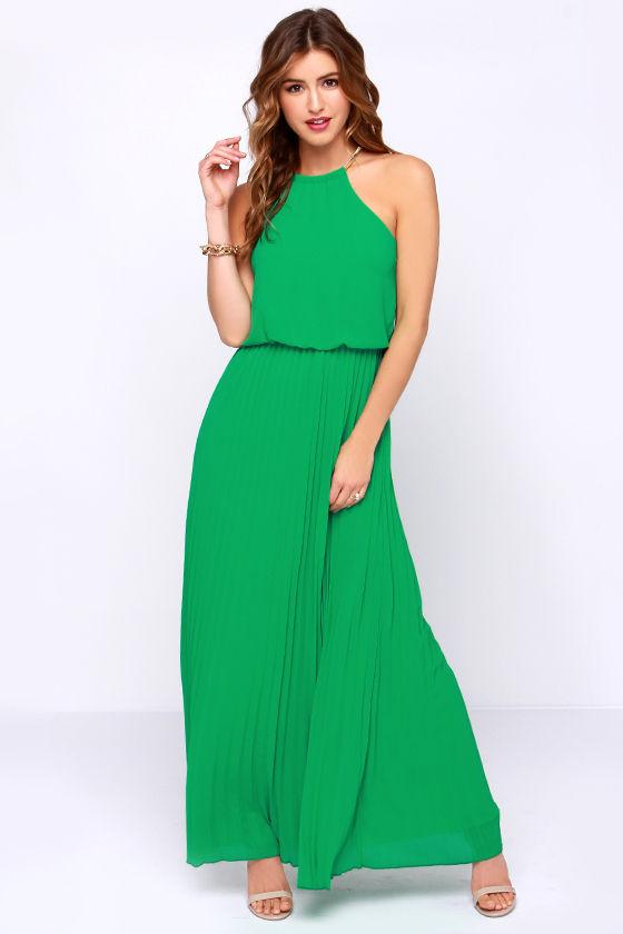 d04fed555cf Pretty Green Dress - Maxi Dress - Pleated Dress -  52.00