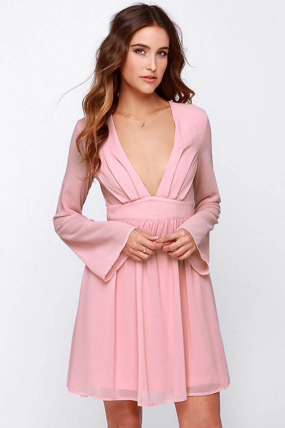 Pretty Blush Pink Dress - Long Sleeve Dress - $43.00