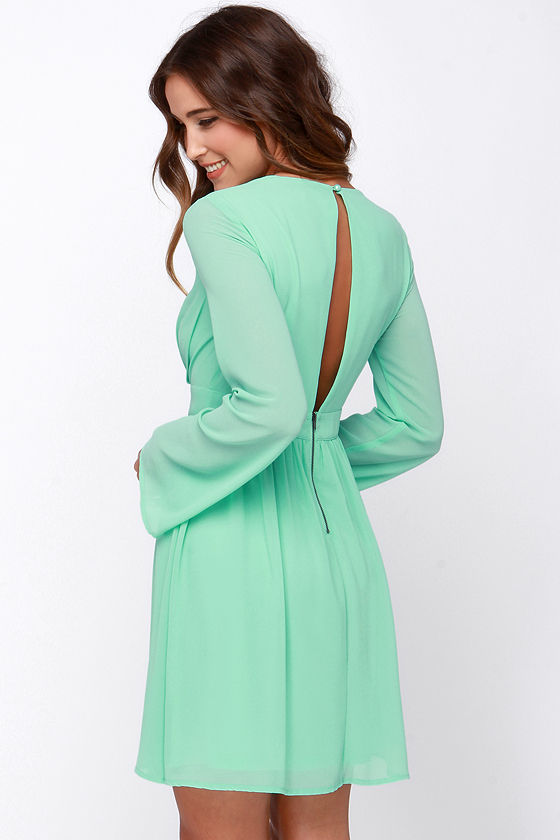 Pretty Mint Green Dress - Long Sleeve Dress - $43.00