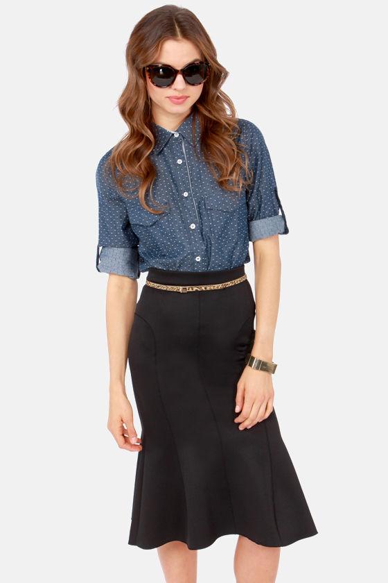 51b03c0ea Cute Black Skirt - Midi Skirt - Mermaid Skirt - Trumpet Skirt - $65.00