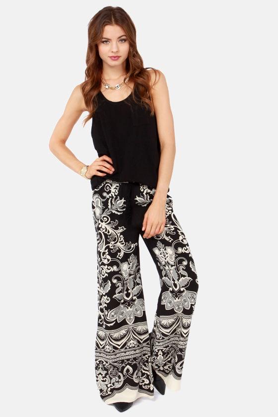 Cool Floral Print Pants - Wide-Leg Pants - Palazzo Pants - $46.00