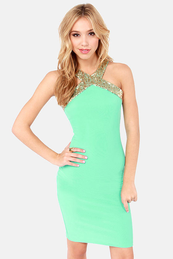Sexy Sequin Dress - Mint Green Dress - Bodycon Dress - $42.00