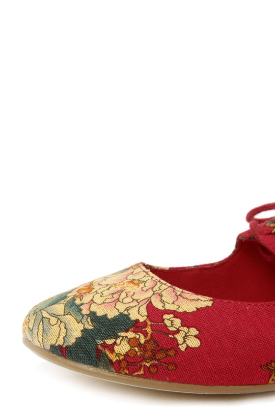 Restricted Sahara Red Floral Lace-Up Flats at Lulus.com!