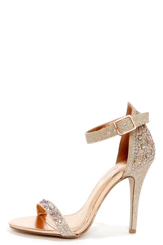 Sexy Rose Gold Heels - Rhinestone Heels - Ankle Strap Heels - $38.00