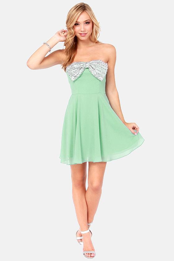 Pretty Mint Green Dress - Strapless Dress - Sequin Dress - $87.00