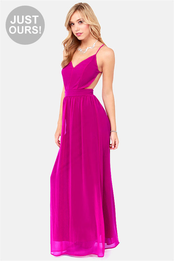 befa453fb07 Sexy Backless Dress - Magenta Dress - Maxi Dress -  49.00