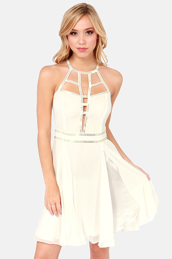Modern Goddess Beaded Ivory Dress at Lulus.com!