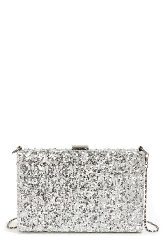 Hide and Sequin Silver Sequin Clutch at Lulus.com!