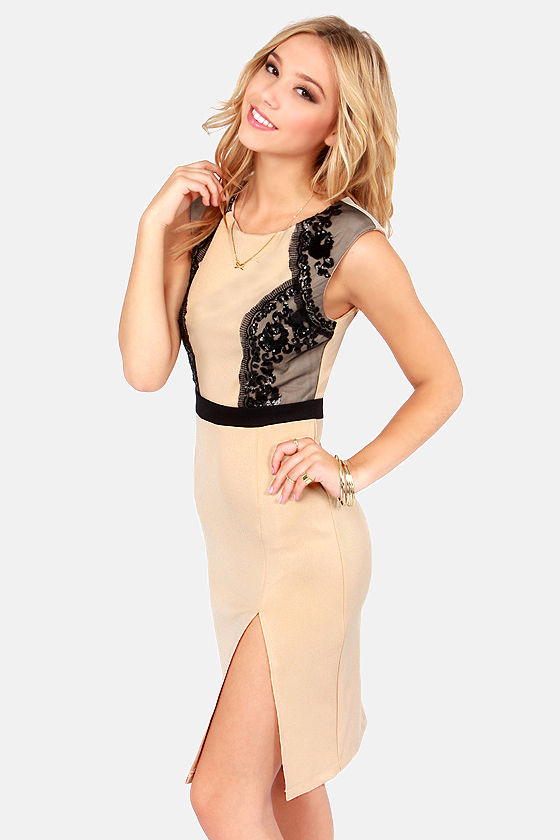 Grand Scheme Beige Sequin Dress at Lulus.com!