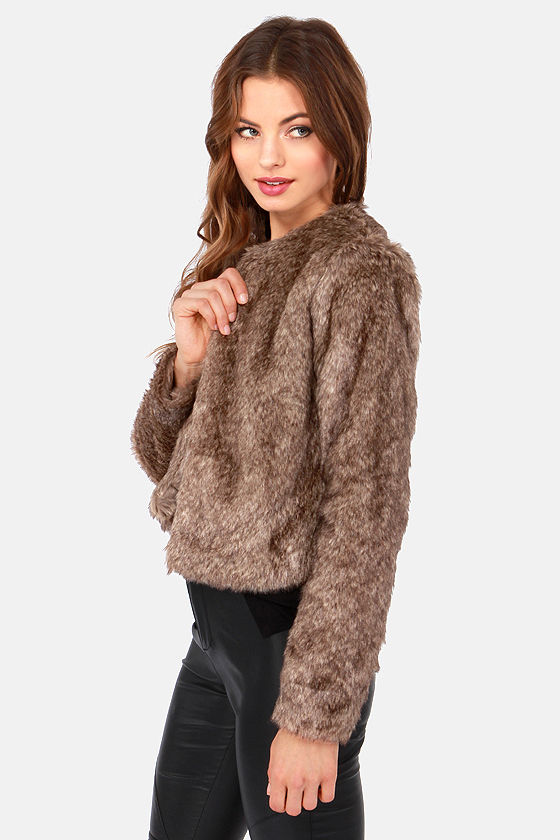Fur Capita Cropped Taupe Faux Fur Jacket at Lulus.com!
