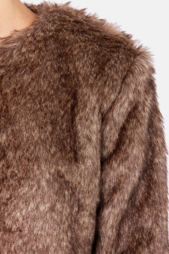 Fur Capita Cropped Taupe Faux Fur Jacket at Lulus.com!