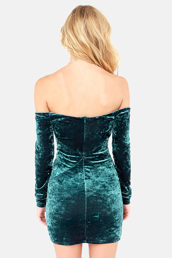 Rubber Ducky Mad Crush Dark Teal Velvet Dress at Lulus.com!