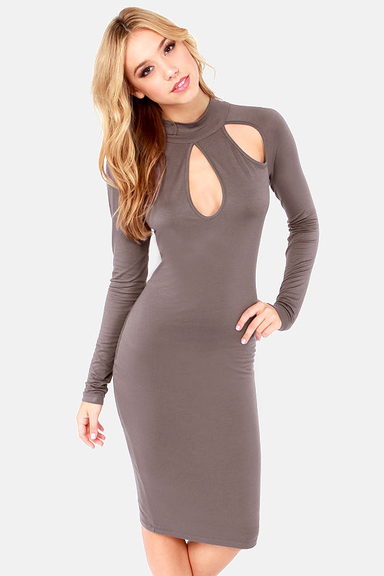 Teardrop It Like It's Hot Grey Midi Dress at Lulus.com!