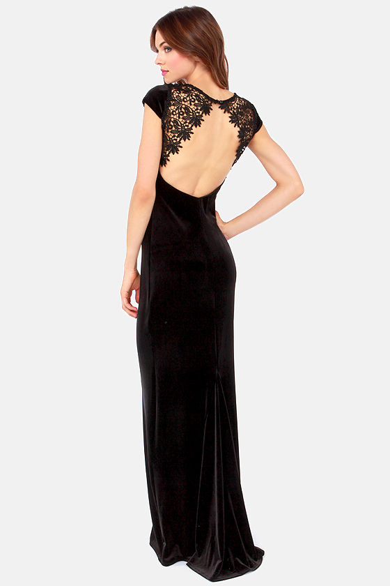 Rubber Ducky Velvet's Get Together Black Velvet Dress at Lulus.com!