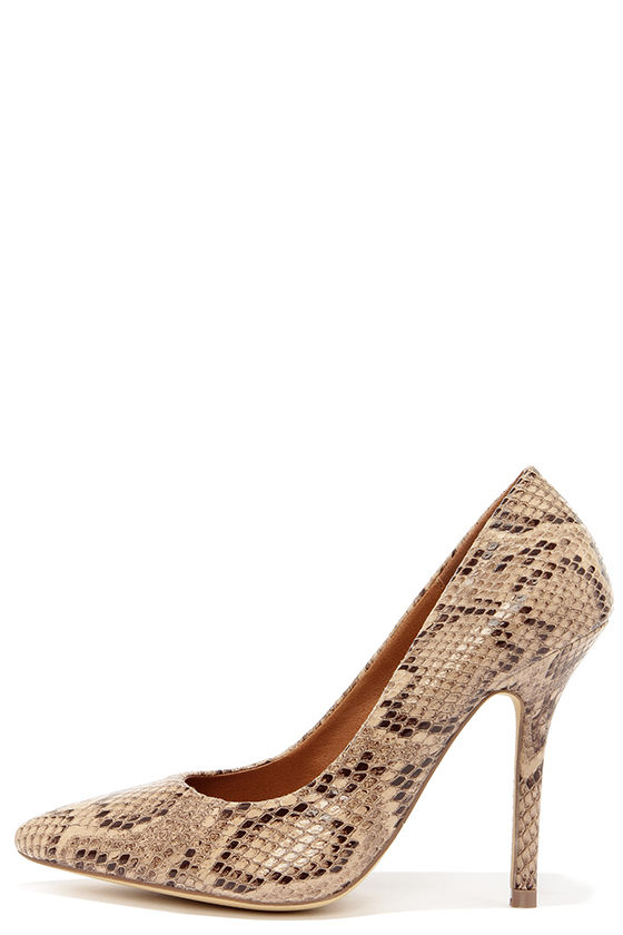 Cute Taupe Heels Snakeskin Heels Pointed Pumps 29 00
