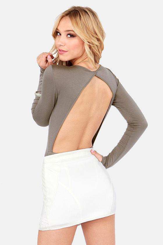 Sexy Grey Bodysuit Backless Bodysuit Long Sleeve