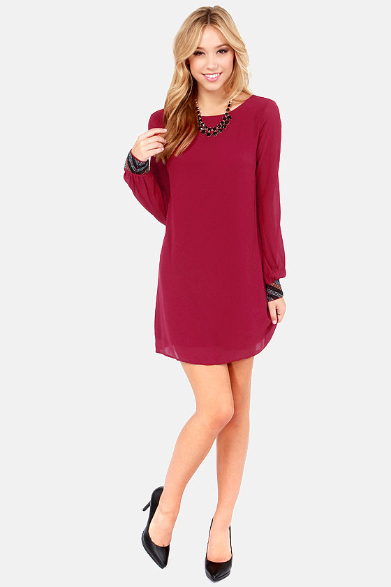 Cute Wine Red Dress - Beaded Dress - Long Sleeve Dress - $59.00