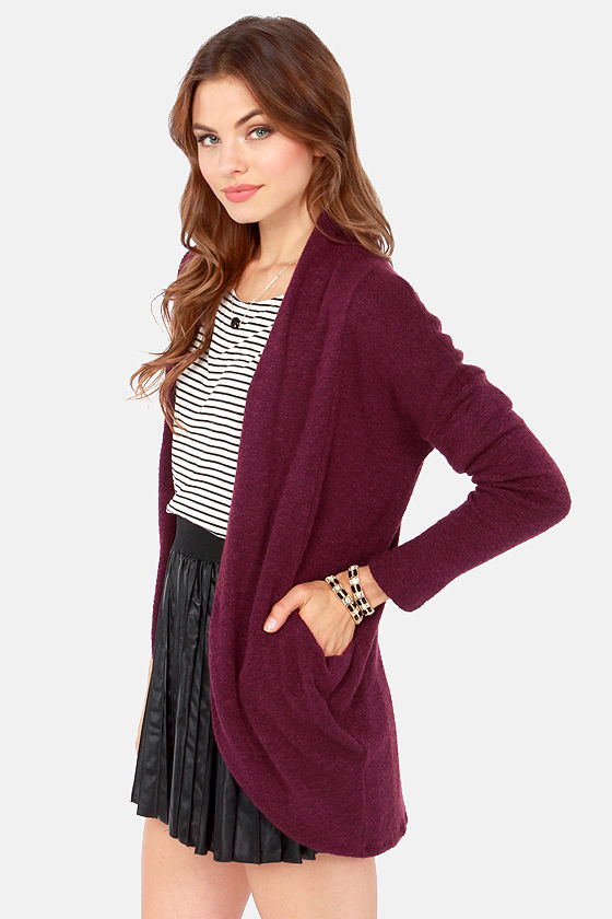 Sweater Business Bureau Purple Cardigan Sweater at Lulus.com!
