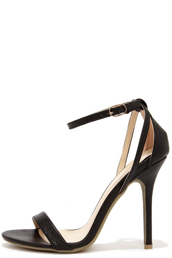 Cute Snakeskin Heels - Ankle Strap Heels - Black Heels - $22.00