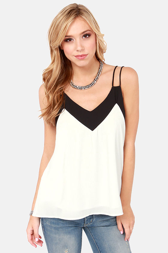 Two-Tone It Down Black and White Top at Lulus.com!