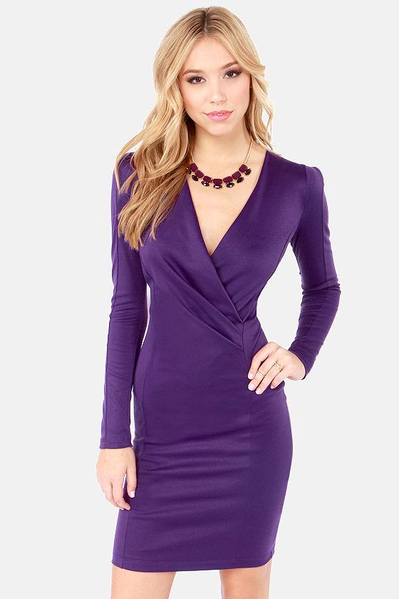 56aa7db2139f Sexy Purple Dress - Long Sleeve Dress - Bodycon Dress -  36.00