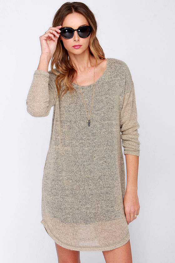 c2fbc9570e0 Cute Sweater Dress - Beige Dress - Cozy Sweater Dress -  34.00