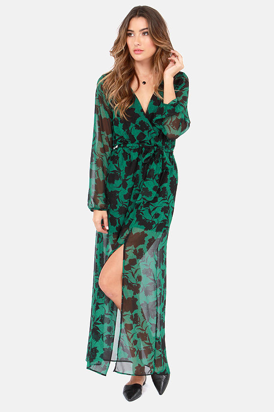 Pretty Green Dress - Floral Print Dress - Maxi Dress - Wrap Dress ...