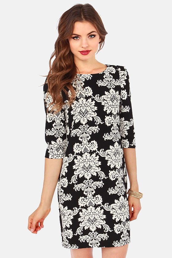 Refined By Me Cream and Black Damask Print Dress at Lulus.com!