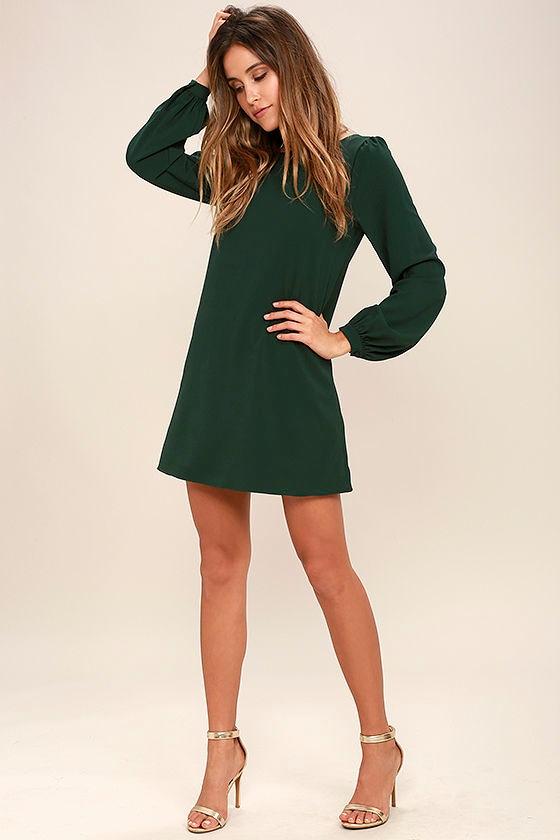 Cute Green Dress - Shift Dress - Long Sleeve Dress - $38.00