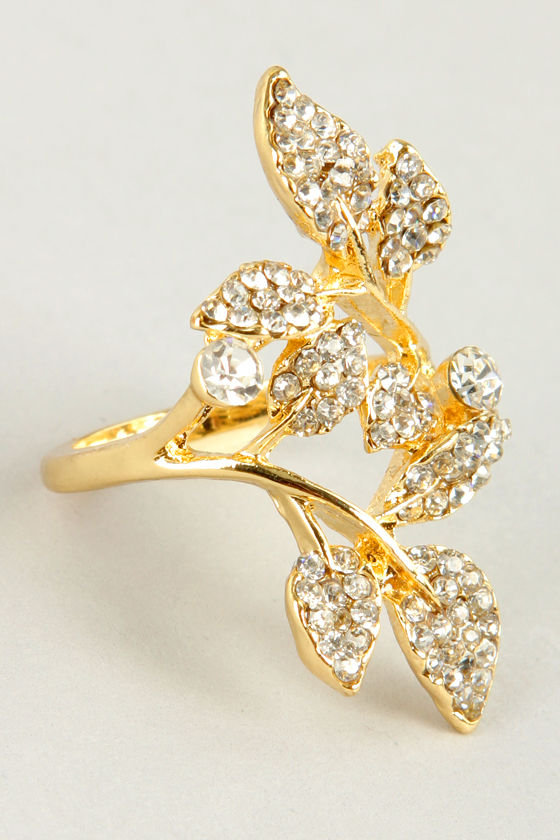 Leaves Me Be Gold Ring at Lulus.com!