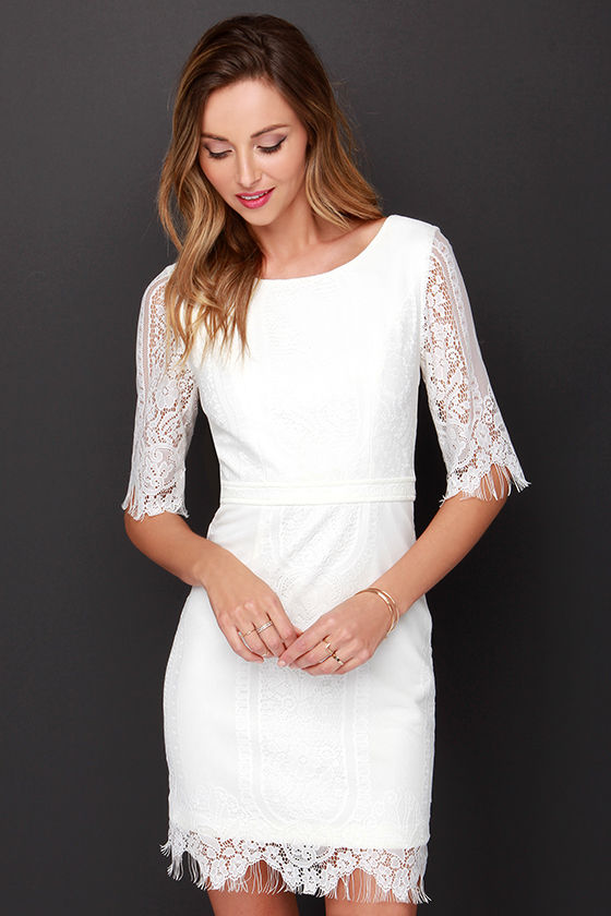 Sexy Ivory Dress - Ivory Lace Dress - Backless Dress - $43.00