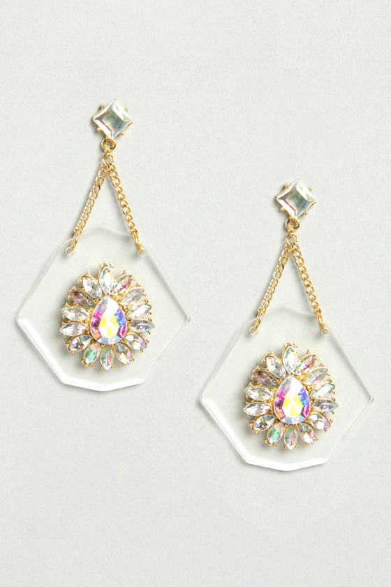 Clear as Day Rhinestone Lucite Earrings at Lulus.com!