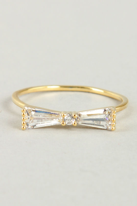 2b122b94db4ee9 Pretty Rhinestone Ring - Knuckle Ring - Gold Ring - Bow Ring - $14.00