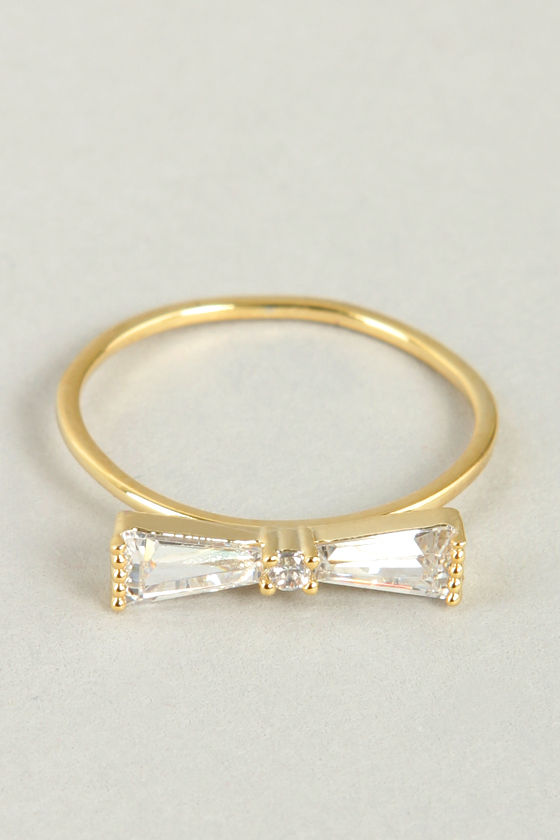 Bowtie the Knot Gold Rhinestone Knuckle Ring at Lulus.com!
