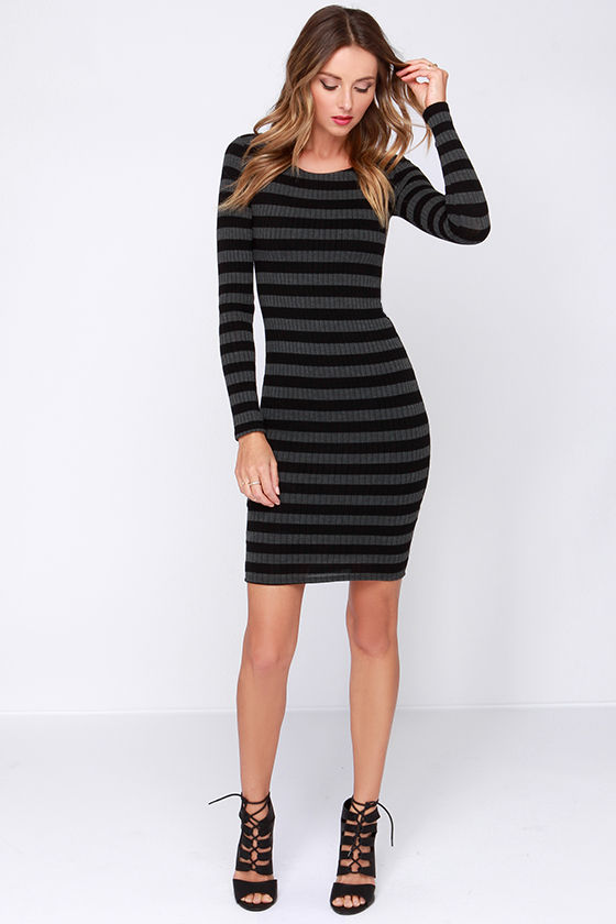 Cool Black and Grey Dress - Striped Dress - Long Sleeve Dress ...